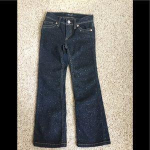 Girls denim and glitter size 6 slim jeans